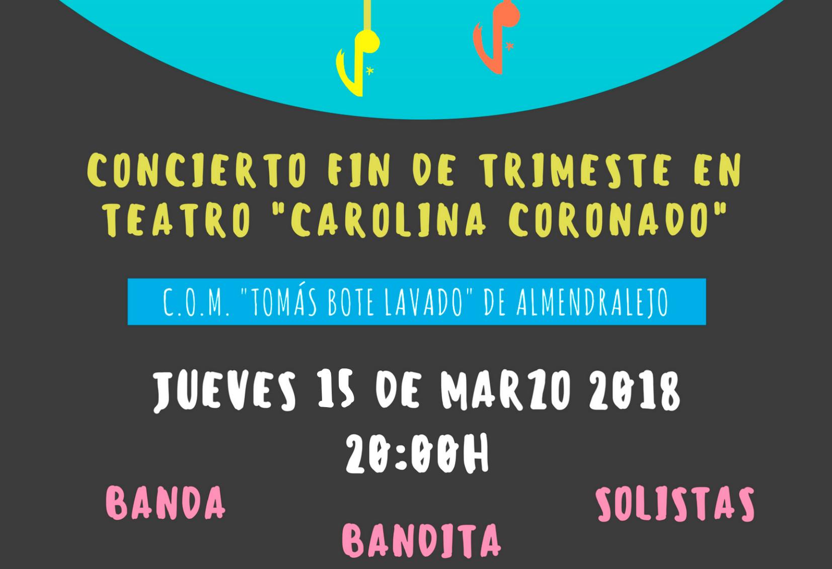"""CONCIERTO FIN DE TRIMESTRE DE C.O.M """"TOMÁS BOTE LAVADO"""" DE ALMENDRALEJO"""